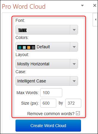 Configuración de nube de palabras