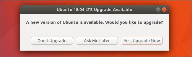 Ventana de actualización de Ubuntu disponible.