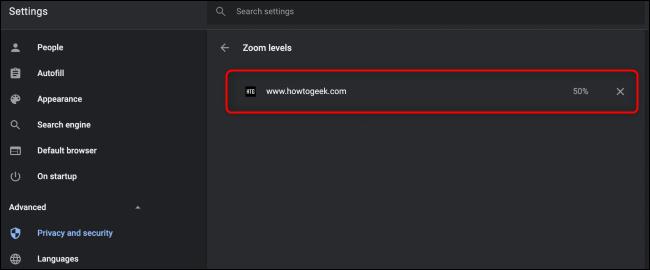 Configuración de zoom de Chrome