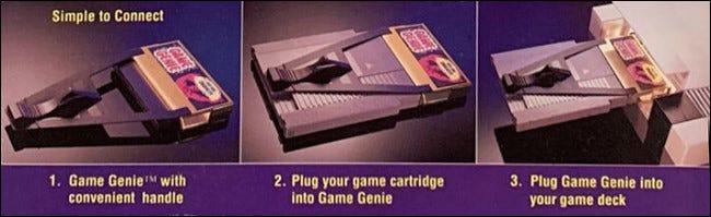 Fotos de uso de NES Game Genie de la caja de Galoob.