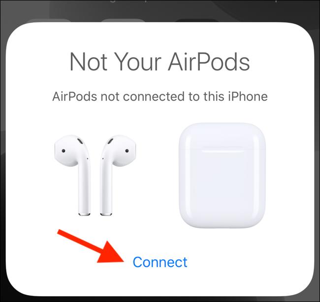 Toque Conectar en la ventana emergente para conectar el segundo par de AirPods