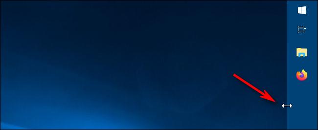 Uso del control deslizante de cambio de tamaño para cambiar el ancho de la barra de tareas en Windows 10