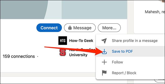 """Haga clic en """"Guardar como pdf"""" en la página de perfil de un miembro de LinkedIn para descargar su perfil."""