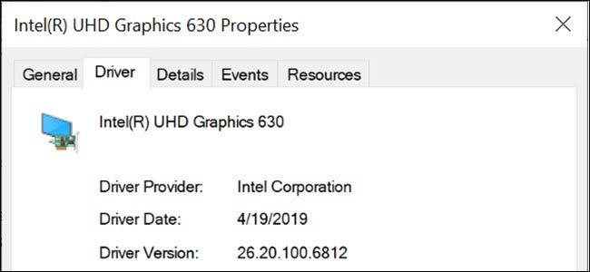 Propiedades del controlador de gráficos Intel en Windows