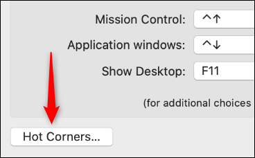 Botón de esquinas calientes en el control de la misión