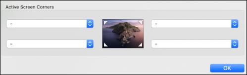 Menú de esquinas de pantalla activa
