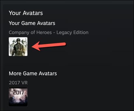 """Para usar una de las imágenes de perfil de Steam predefinidas, seleccione una de las opciones enumeradas en la """"Avatares"""" menú, presionando """"Ver todo"""" para ver la lista completa."""