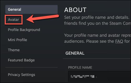 """En el menú de configuración de su perfil de Steam, presione el botón """"Avatar"""" opción."""