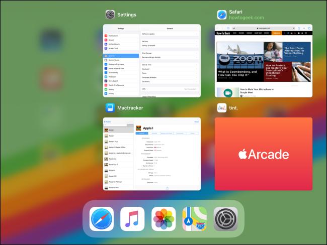 Mosaicos de aplicaciones en App Switcher en iPad.