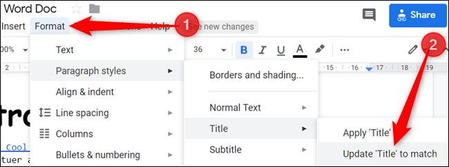 """Haga clic en """"Formato,"""" Haga clic en """"Estilos de párrafo,"""" para seleccionar """"Título,"""" luego haga clic en """"Actualiza"""