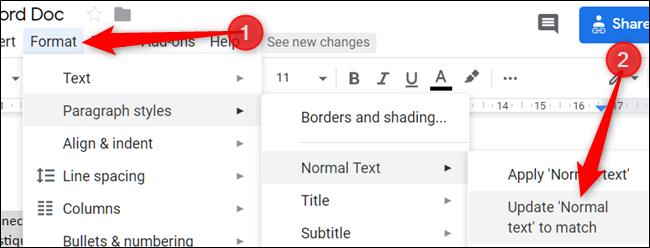 """Haga clic en """"Formato,"""" Haga clic en """"Estilos de párrafo,"""" para seleccionar """"Texto normal,"""" luego haga clic en """"Actualice el"""