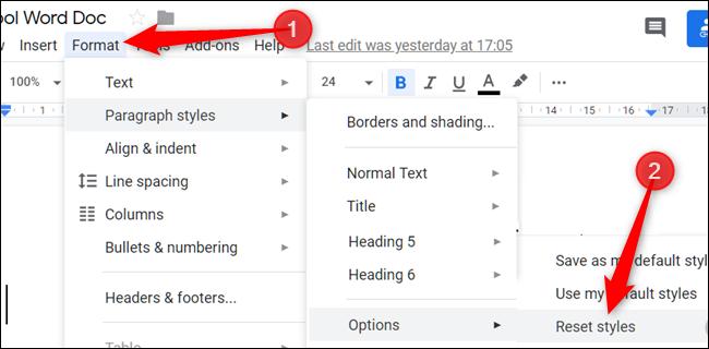"""Haga clic en """"Formato,"""" Haga clic en """"Estilos de párrafo,"""" para seleccionar """"Opciones,"""" luego haga clic en """"Restablecer estilos."""""""