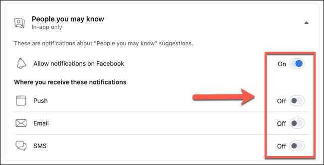 """Toque los controles deslizantes junto a las diferentes opciones enumeradas en el """"Gente que pueda conocer"""" menú de configuración para desactivar sugerencias de amigos específicos, o toque """"Permitir notificaciones en Facebook"""" para apagarlos por completo."""