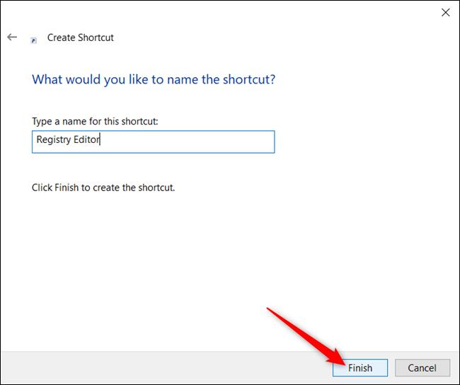 """Escriba un nombre para su acceso directo en el cuadro de texto y luego haga clic en """"Terminar."""""""