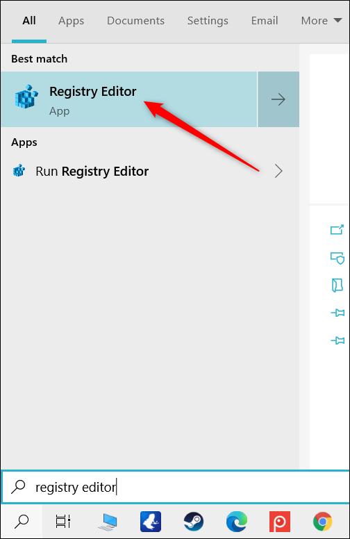 """Haga clic en """"Editor de registro."""""""