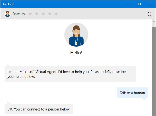 Pregunte al agente de soporte virtual para un representante humano en Windows 10