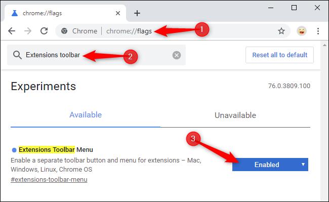 Activar el nuevo menú de la barra de herramientas de Extensiones de Chrome en la página de banderas