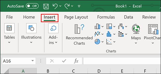 """Pulsando """"Insertar"""" en la cinta de Excel."""
