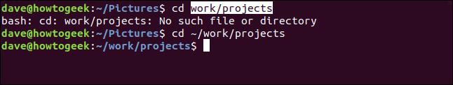 ventana de terminal con un directorio modificado obtenido al copiar y pegar