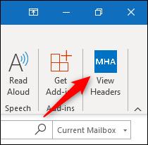 """los """"Mostrar encabezados"""" en la cinta de Outlook."""