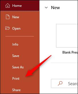 Seleccione Imprimir en el panel izquierdo.