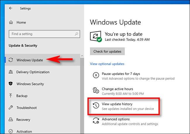 """Haga clic en Windows Update y luego en """"Ver historial de actualizaciones."""""""