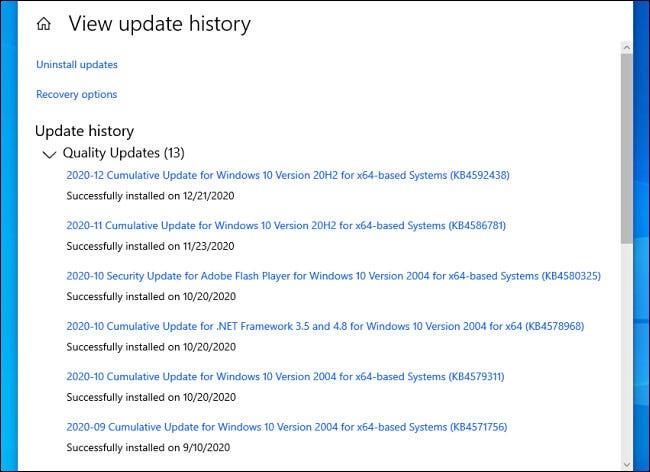 Una lista de las actualizaciones de Windows 10 instaladas en Configuración.