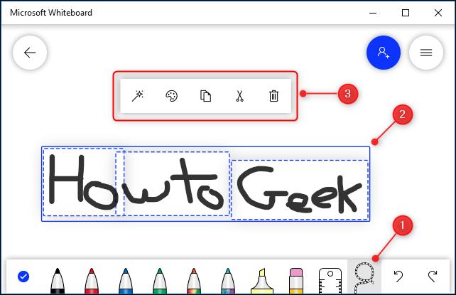 Texto escrito a mano y el menú contextual que se muestra desde la herramienta Lazo.