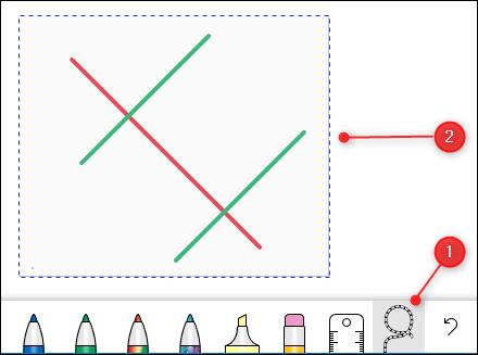 La herramienta Lazo y algunas líneas seleccionadas.