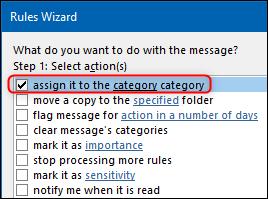"""los """"asignar a la categoría categoría"""" opción en el asistente de reglas."""