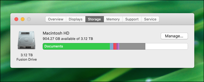 Comprobación del espacio libre en disco en macOS Catalina