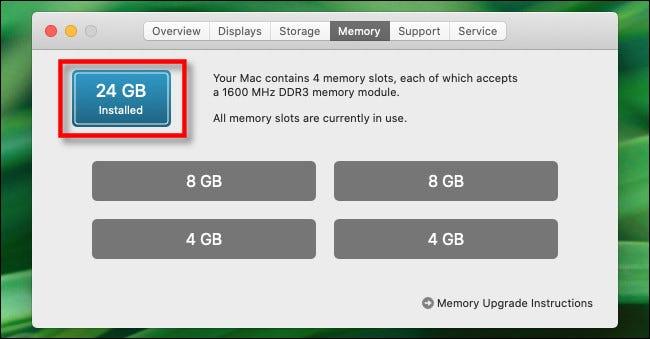 """En el """"Memoria"""" pestaña, verá la cantidad total de memoria instalada."""