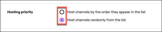 """Seleccione la configuración de prioridad de host automática de Twitch en el """"Prioridad de alojamiento"""" sección."""
