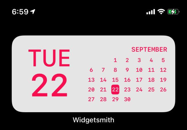Widget de fecha de Widgetsmith