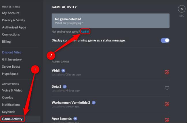 Actividad del juego de discordia Agregar juego