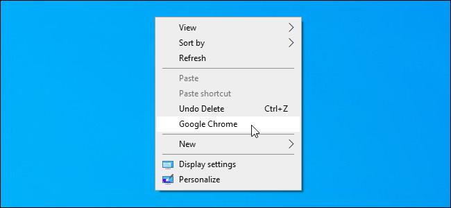 Un acceso directo personalizado agregado al menú contextual del escritorio de Windows 10.