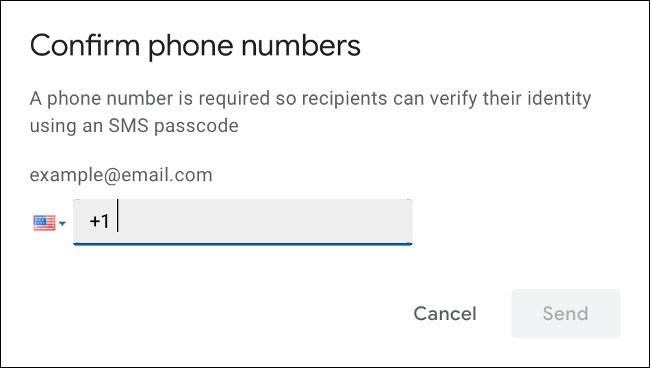 Especifique el número de móvil para la verificación por SMS