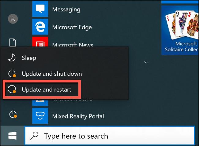 """los """"Actualizar y reiniciar"""" opción en el menú Inicio de Windows 10."""