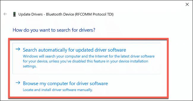 """los """"¿Cómo desea buscar controladores?"""" opciones en Windows 10."""
