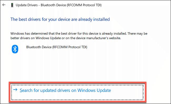 """Haga clic en """"Busque controladores actualizados en Windows Update."""""""