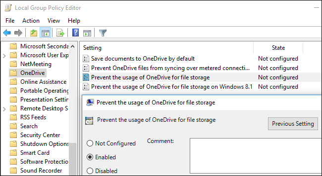 Deshabilite OneDrive en el Editor de políticas de grupo local.