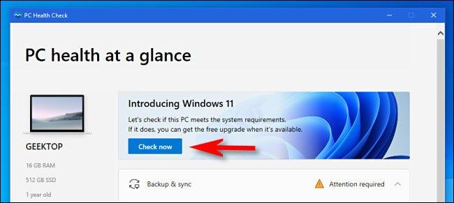 """Haga clic en """"Revisalo ahora"""" en la aplicación PC Health Check."""