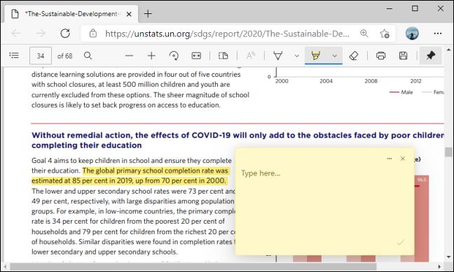 Cuadro de comentarios en PDF en Microsoft Edge