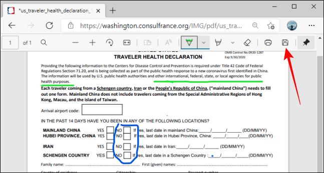 Botón Guardar en la barra de herramientas PDF en Microsoft Edge