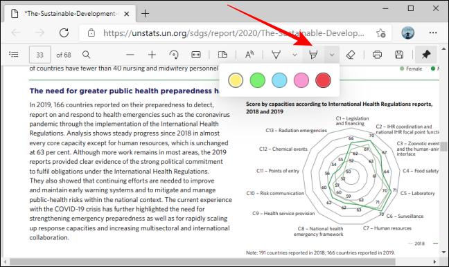 Resalte las opciones de color de la herramienta en la barra de herramientas PDF en Microsoft Edge