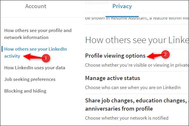 Perfil de LinkedIn que muestra opciones de privacidad