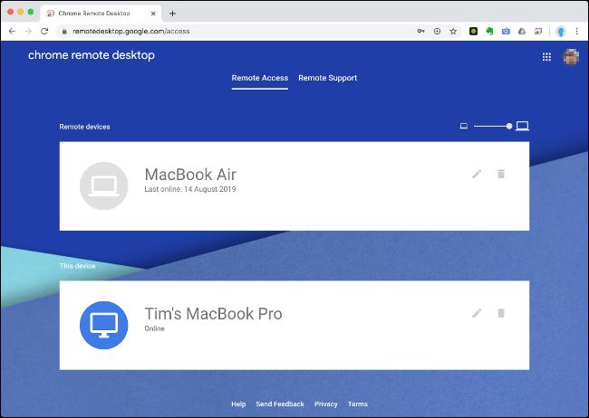"""los """"Acceso remoto"""" en el escritorio remoto de Chrome."""