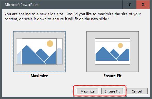 """Haga clic en """"Maximizar"""" Dónde """"Asegure el ajuste."""""""