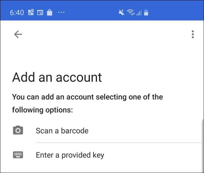 """La pantalla de la aplicación Google Authenticator en un teléfono, donde presiona """"Escanea un código de barras."""""""
