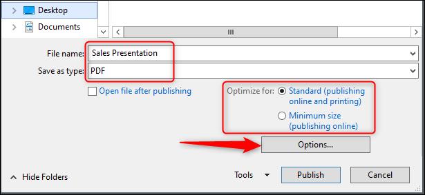 guardar el nombre del archivo y las opciones de optimización